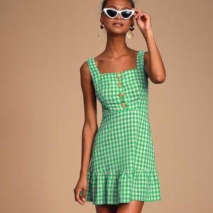 NWT Lush gingham green dress xs